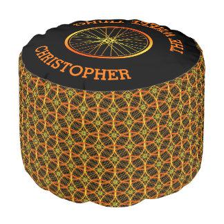 Bicycle wheel pattern custom name pouf