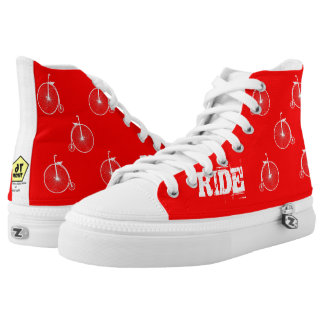 Bicycle White Red High Tops