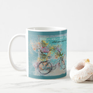 Bicycle with flower baskets on blue burlap coffee mug