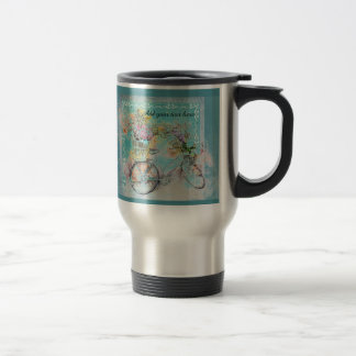 Bicycle with flower baskets on blue burlap travel mug