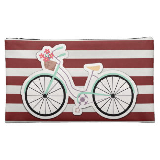 Bicycle with Flowers on a Red and White Background Makeup Bag