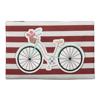 Bicycle with Flowers on a Red and White Background Travel Accessories Bag