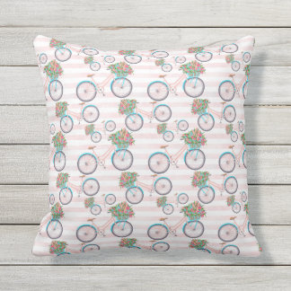 Bicycle with Flowers Painting Cushion