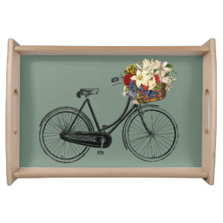 Bicycle with flowers sea foam green Tray