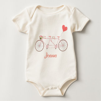 Bicycle with rose flowers and hear Baby Bodysuit