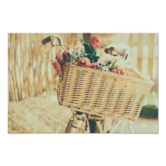 Bicycle with Wicker Basket Poster