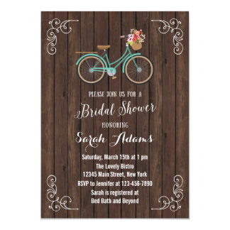 Bicycle Wood Bridal Shower Invitation
