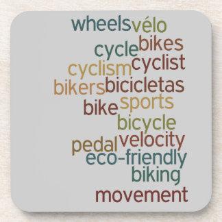 bicycle word cloud coasters