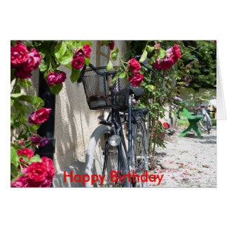 Bicycles and roses in Sweden, Happy Birthday Card