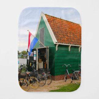 Bicycles, Dutch windmill village, Holland Burp Cloth