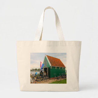Bicycles, Dutch windmill village, Holland Large Tote Bag