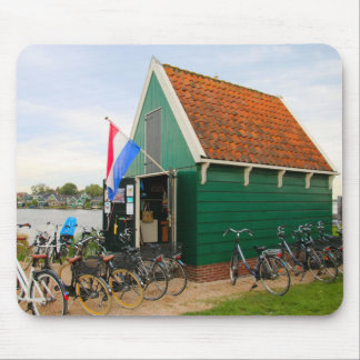 Bicycles, Dutch windmill village, Holland Mouse Pad