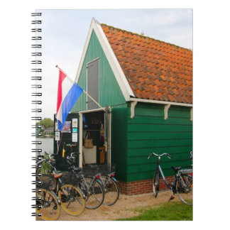 Bicycles, Dutch windmill village, Holland Notebook