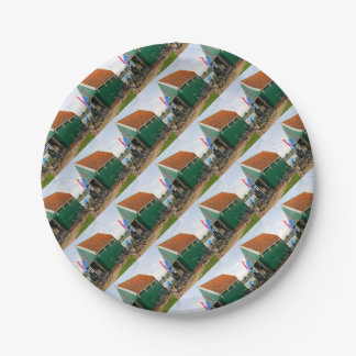 Bicycles, Dutch windmill village, Holland Paper Plate