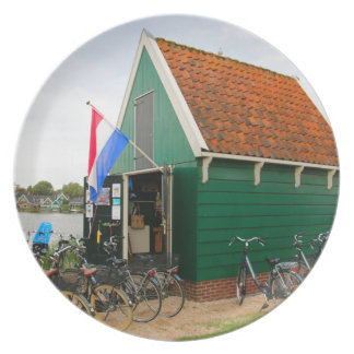 Bicycles, Dutch windmill village, Holland Plate