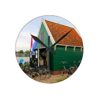 Bicycles, Dutch windmill village, Holland Round Clock