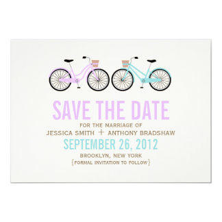 Bicycles His and Hers Wedding Save the Date 13 Cm X 18 Cm Invitation Card