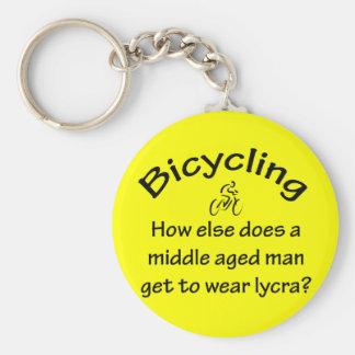 Bicycling Basic Round Button Key Ring