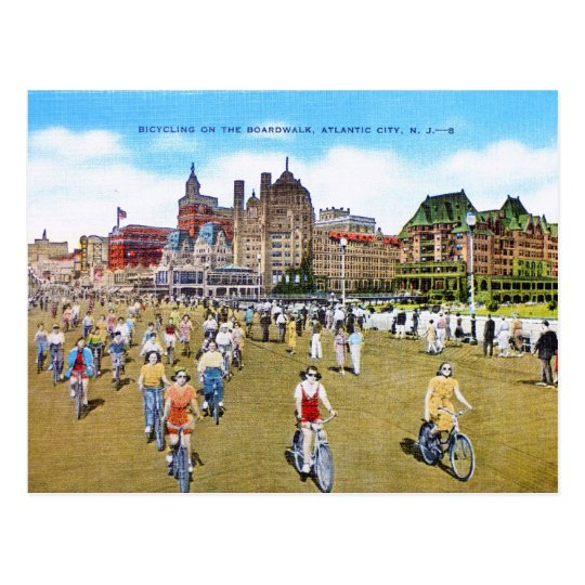 Bicycling on the Boardwalk Postcard