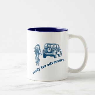 Bicyclist and Motorist are ready for adventure Two-Tone Mug