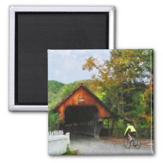 Bicyclist at Middle Bridge Woodstock VT Magnet