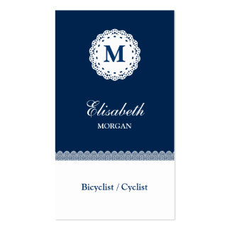 Bicyclist / Cyclist Blue White Lace Monogram Pack Of Standard Business Cards
