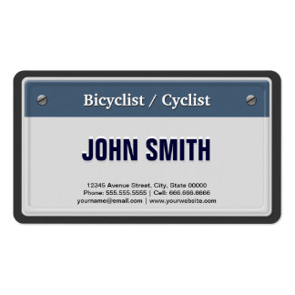 Bicyclist / Cyclist Cool Car License Plate Business Card Templates