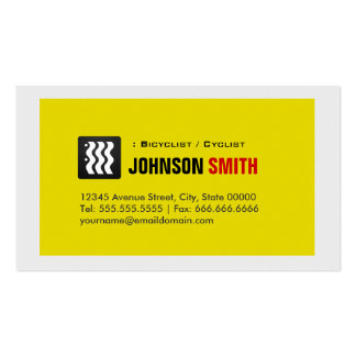 Bicyclist / Cyclist - Urban Yellow White Business Card Template