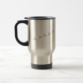 Bicyclist going over the hill travel mug