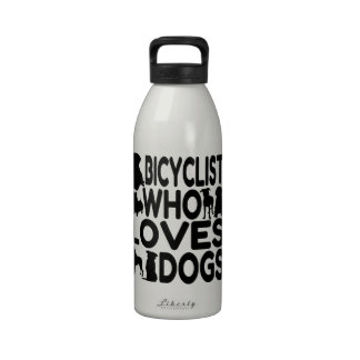 Bicyclist Who Loves Dogs Reusable Water Bottle