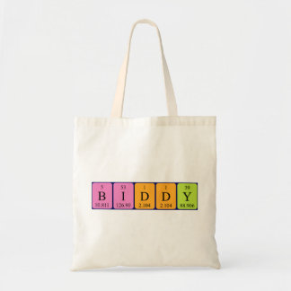 Biddy periodic table name tote bag
