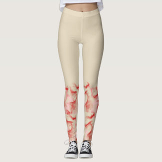 Biege Swirl Red and Pink Leggings