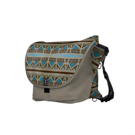 biege turquoise tile pattern commuter bags
