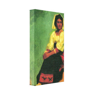 Bierstadt - Costume study of a seated woman Gallery Wrap Canvas