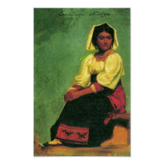 Bierstadt-Costume study of a seated woman Poster