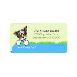 Biewer Yorkie Blue Couch Pet Name Personalized Address Label