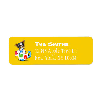 Biewer Yorkie Polka Dot Cup Custom Color Return Address Label