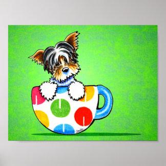 Biewer Yorkie Polka Dot Cup Green Poster