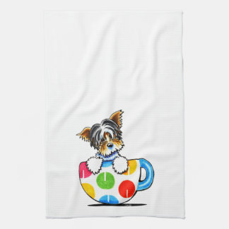 Biewer Yorkie Polka Dot Cup Tea Towel