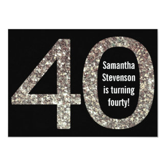 Big 4-0 Birthday Glitter-Look 40th Party 4.5x6.25 Paper Invitation Card