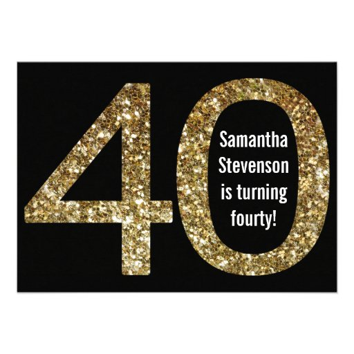 Big 4-0 Birthday Gold Glitter-Look 40th Party Invitations
