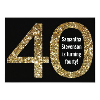Big 4-0 Birthday Gold Glitter-Look 40th Party 4.5x6.25 Paper Invitation Card