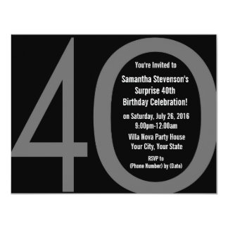 Big 4-0 Birthday Party Invitations