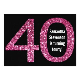 Big 4-0 Birthday Pink Glitter-Look 40th Party 11 Cm X 16 Cm Invitation Card