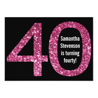 Big 4-0 Birthday Pink Glitter-Look 40th Party 4.5x6.25 Paper Invitation Card