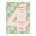 Big 4 Birthday Party Invitations, Pink and Green