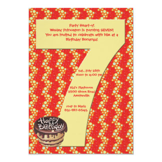 Big 7 Birthday Party Invitation