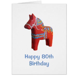 Big 80th Birthday Card with Dala Horse