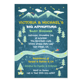 Big adventure rustic mountain folk art baby shower 13 cm x 18 cm invitation card