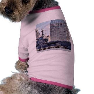Big Aircraft Carrier Ship Dog T Shirt